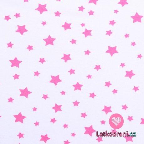 Bavlněný úplet světle růžové hvězdičky na bílé