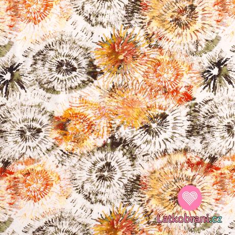 Úplet potisk oranžovo - hnědé batikované květy na bílé