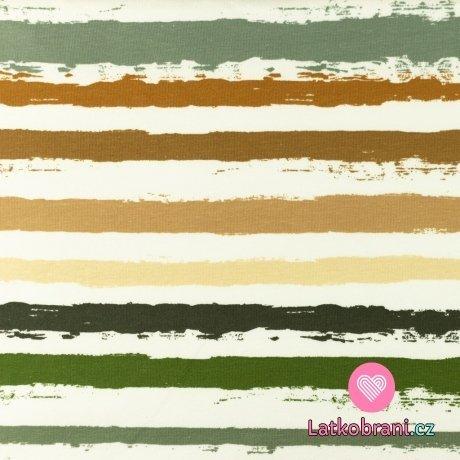 Úplet potisk malované proužky do zelena na bílé