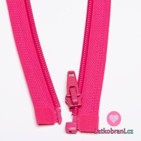 Zip spirálový dělitelný fuchsiově růžový 65cm