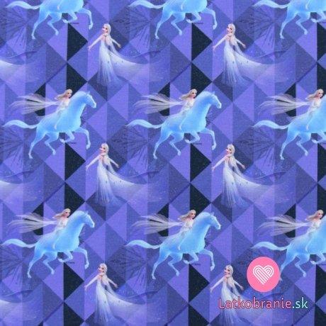 Teplákovina potisk Elsa a kouzelný kůň na fialové