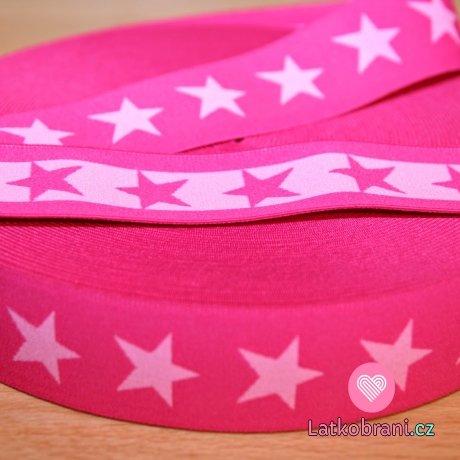Pruženka ozdobná hvězdy pink na růžové šíře 40mm