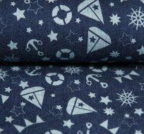 Jeans/Denim námořnický styl kotvy, hvězdy, lodičky na modré