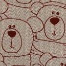 Teplákovina potisk vínový medvídek Méďa na béžové rybí kosti