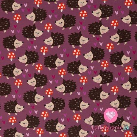 Softshell potisk ježci s muchomůrkami na růžové s fleecem