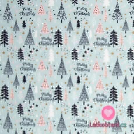 Bavlněné plátno vánoční vzor na modré