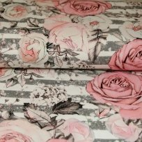 Teplákovina romantické růže starorůžové s šedou