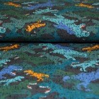 Úplet dinosauři petrolejový, oranžový na tmavě modré