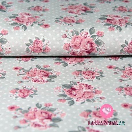 Bavlněný úplet pastelové růže s puntíky na šedé
