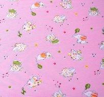Bavlněný úplet slůňátka na růžových proužcích