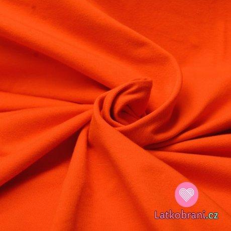 Jednobarevný úplet oranžová 220 g, šíře 180 cm