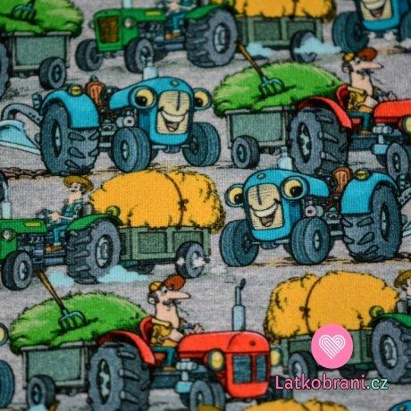 Teplákovina potisk veselé traktory při práci na šedé
