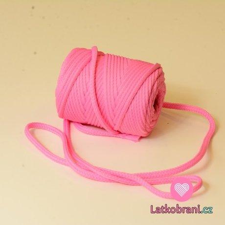 Šňůra kulatá oděvní PES 7 mm růžová