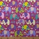 Úplet potisk barevní sloni a slůňátka na fialové