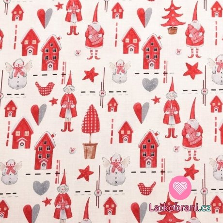 Vánoční bavlna vánoční vzor na smetanové - plátno