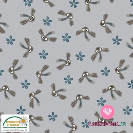 Úplet roztomilé vážky mezi kvítky na šedé
