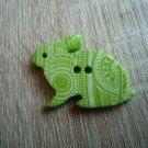 Knoflík zajíček zelený s ornamenty