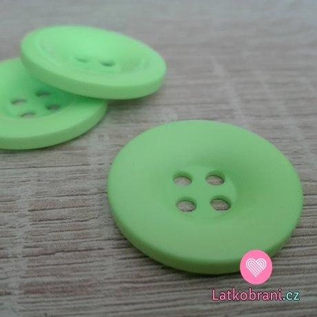 Knoflík hladký lesklý světlý neon zelený 28 mm