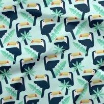 Bavlněné plátno tukani na zelinkavé