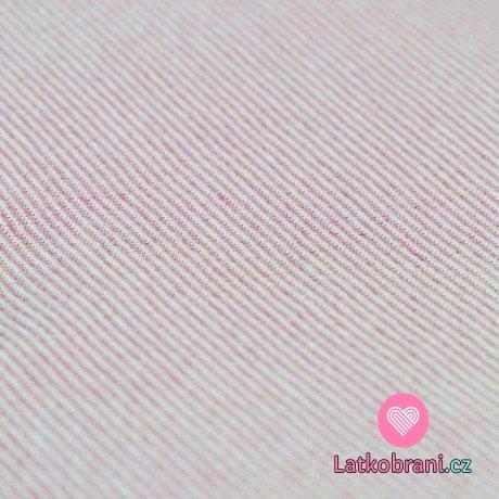 Náplet hladký růžové proužky na bílé