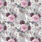 Úplet potisk romantické růže na šedo - bílém podkladu