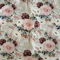 Teplákovina potisk elegantní růže na béžovo-ecru podkladu
