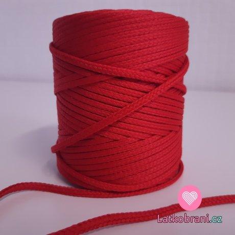 Šňůra oděvní kulatá  PES 4 mm červená tomato