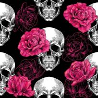 Teplákovina potisk lebky s růžemi na černé