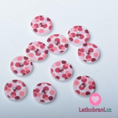 Knoflik potisk růžové puntíky na bílé - malý