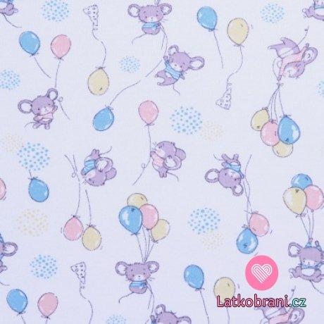 Bavlněný úplet myšky s balónky na bílé