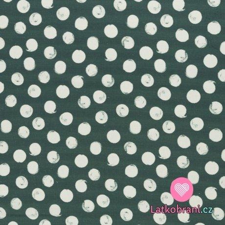 Viskóza s příměsí lnu bílé puntíky na zelené