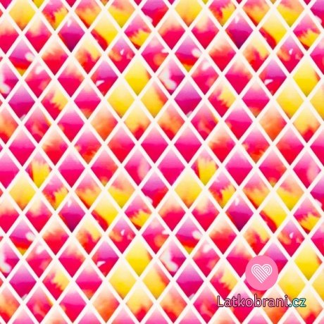 Úplet potisk diamanty v růžovo - žluté