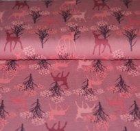 Úplet jelen se stromy na růžové