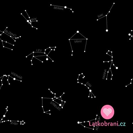Teplákovina potisk souhvězdí a znamení zvěrokruhu na černé