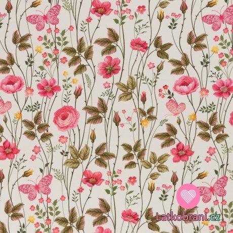 Úplet potisk rozkvetlá růžová louka na bílé