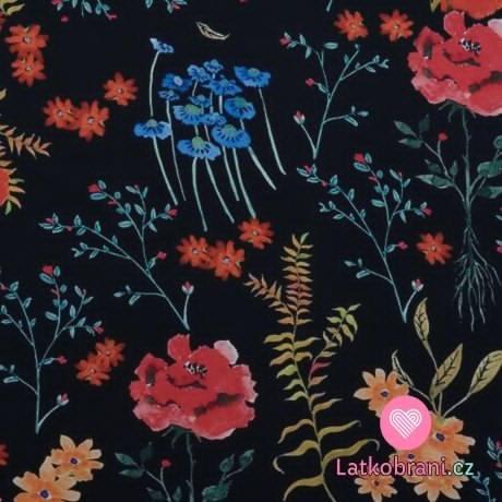 Viskóza potisk barevné květiny na černé