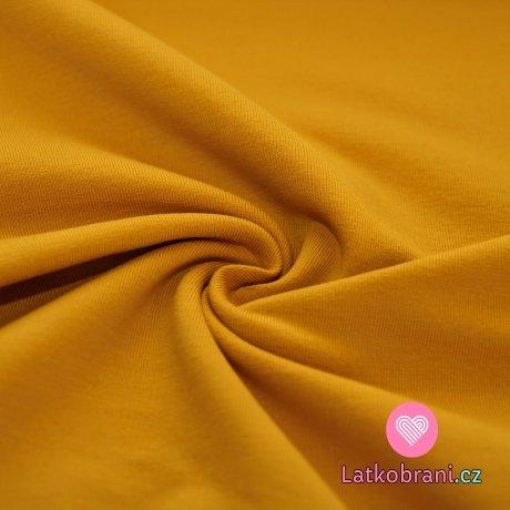 Jednobarevná teplákovina hořčice 290g