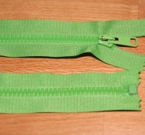 Zip kostěný dělitelný 55cm zelené jablko