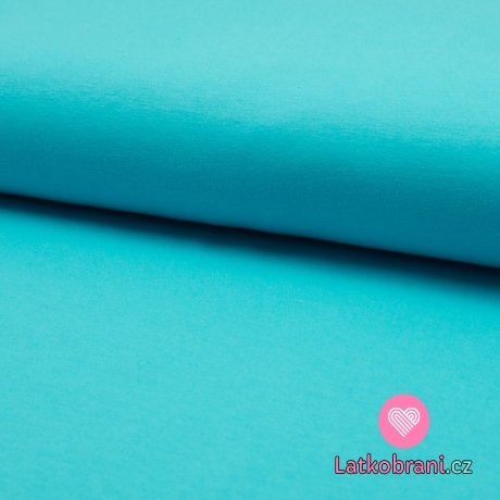 Jednobarevná teplákovina tyrkysová světlejší