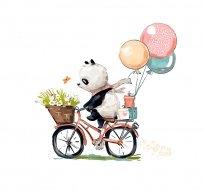 Panel panda na kole s balónky na bílé