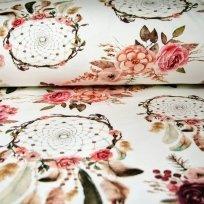 Teplákovina lapače snů s růžemi a pírky na smetanové