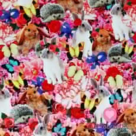 Úplet potisk digitální zajíčci, ježečci, motýlci a květiny