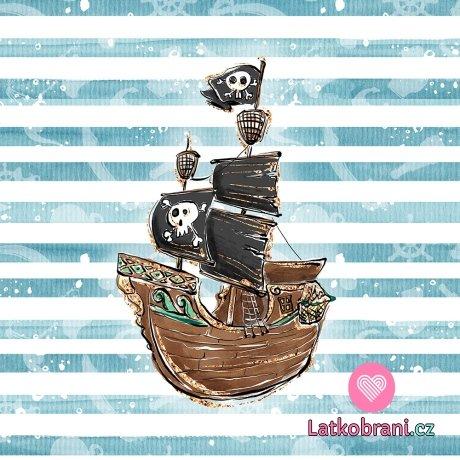 Panel pirátská loď na pruhovaném modro - bílém podkladu