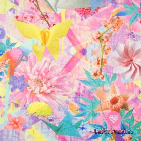 Teplákovina potisk květiny a origami