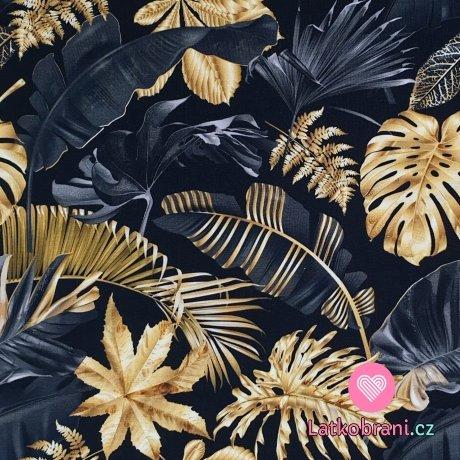 Teplákovina potisk černé a zlaté listy