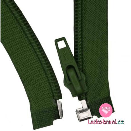Zip spirálový dělitelný tmavě zelený 55 cm