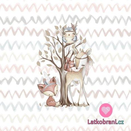 Panel lesní zvířátka u stromu malý 33x40 cm