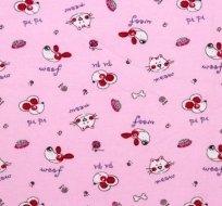Úplet pejsek, kočička a myšák na růžové