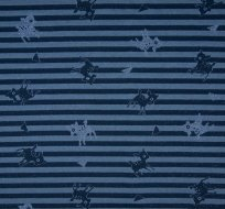 Úplet lurex BAMBI na modrých proužkách, třpytky