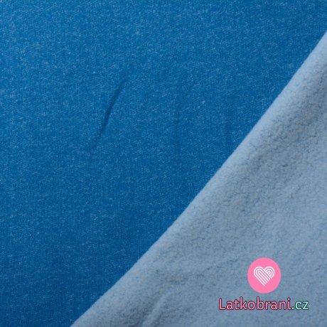 Teplákovina počesaná modré melé